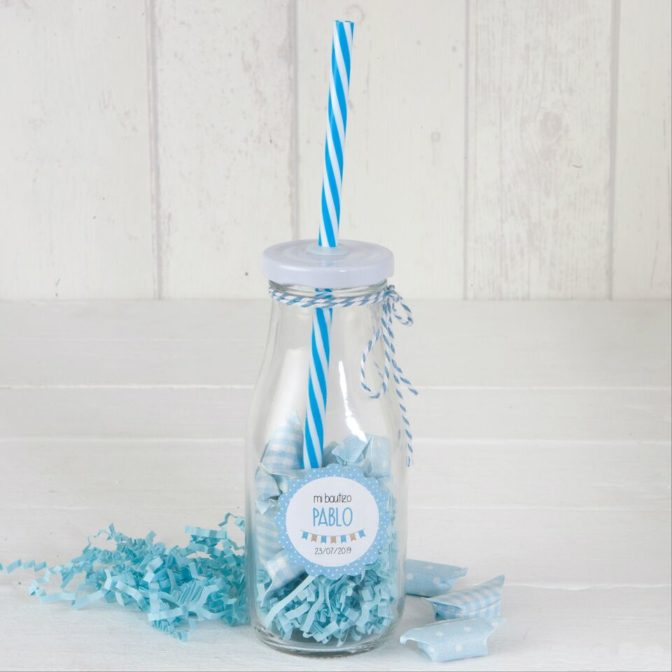 Bottiglia vetro cannuccia azzurra